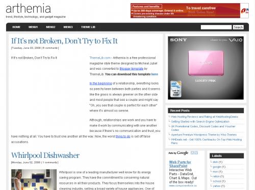 Arthemia Blogger Template