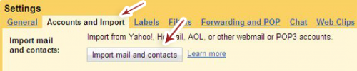 Import mail and contacts