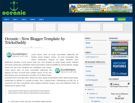 Oceanic Blogger Template