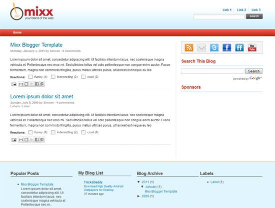 Mixx Blogger Template