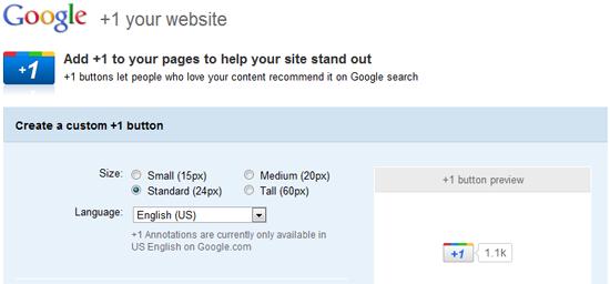 Google +1 button for websites