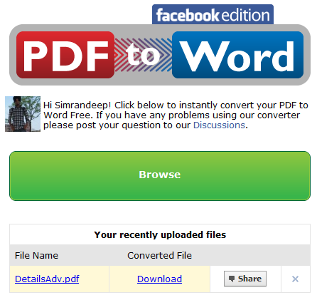 PDF to Word Facebook Edition