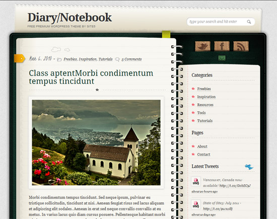 Diary-Notepad WordPress Theme