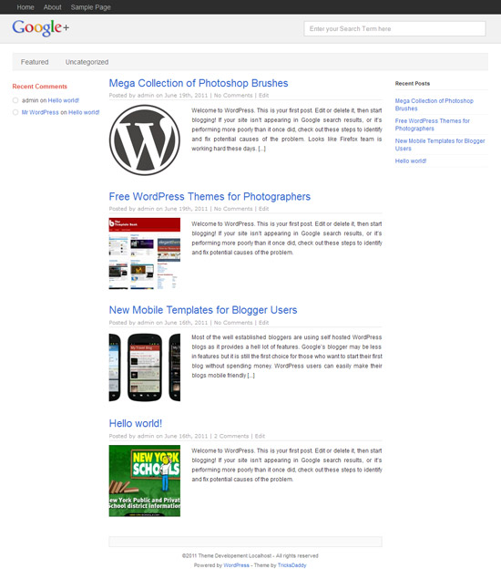 WP Plus - Google+ WordPress Theme