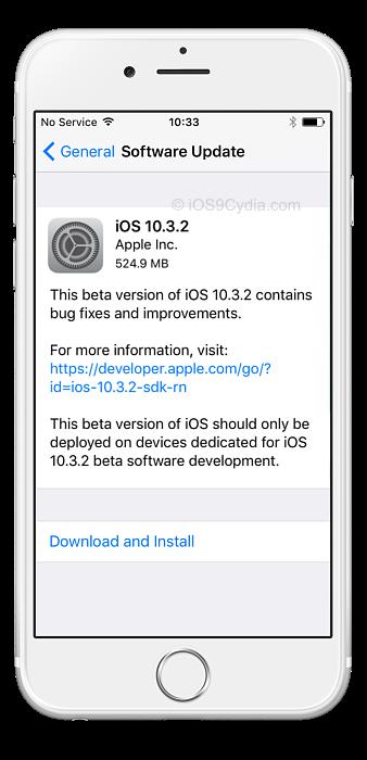 aggiornamento ios 10.3.2